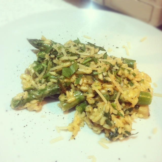 Decidedly un-vegan Asparagus Risotto