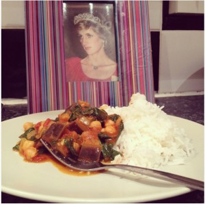 Super quick chickpea and fresh spinach curry by @DawnHFoster, with added aubergine and Princess Diana