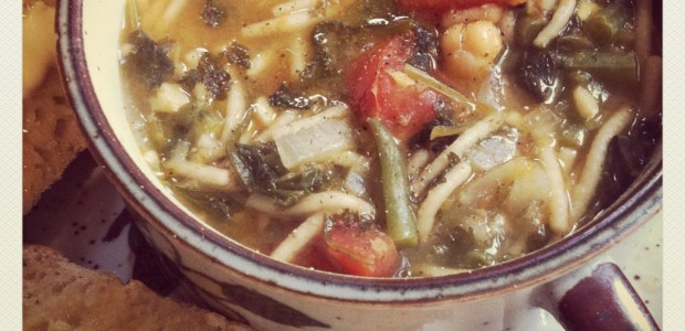 Green bean, chickpea and fresh tomato minestrone.